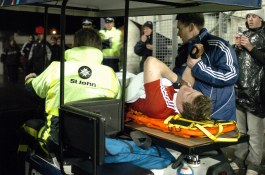 CAPTION: LIONS CAPTAIN BRIAN O'DRISCOLL LIES IN AGONY ON THE MOBILE STRETCHER AS IT LEAVES THE STADIUM AFTER HIS SHOULDER WAS DISLOCATED IN AN INCIDENT WITH ALL BLACK CAPTAIN TANA UMAGA NEW ZEALAND V BRITISH & IRISH LIONS, 1ST TEST, JADE STADIUM, CHRISTCHURCH, NEW ZEALAND, SATURDAY 25TH JUNE 2005 )